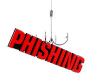 Phishing word at the end of fishing hook. 3D illustration Royalty Free Stock Photos