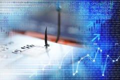 Phishingsconcept met creditcard in een visserijhaak, die cyber misdaad, met digitale binaire gegevens voorstellen als abstracte a royalty-vrije stock afbeelding