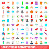 100 phisical activity icons set, cartoon style. 100 phisical activity icons set in cartoon style for any design vector illustration Stock Photo