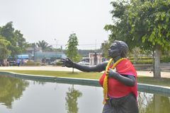Phisuea Samut giant statue in the water Stock Image