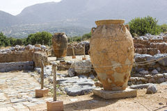 Phitos in minoan Palace of Malia - Crete. Pithos is the ancient Greek word for a large storage jar of a characteristic shape - Grece Royalty Free Stock Images