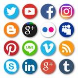 Phitsanulok Thailand - Oktober 22, 2016: Vektoruppsättning av den populära sociala massmediasymbolen med skugga i vit bakgrund