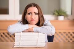 Phlegmatic resting in the office Stock Photos