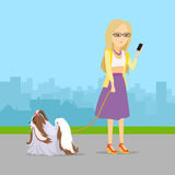 Phlegmatic Temperament Type Girl with Dog. Phlegmatic temperament type girl walking with her adorable dog. Relaxed and peaceful lady having fun with pet Stock Images