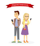 Phlegmatic Temperament Type People. Serious man and woman, medical and emotion, individuality and calm, individual mental, focused emotional illustration Stock Images