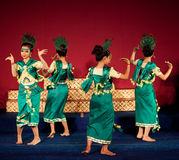 Phloy Suoy Dance, Cambodia. Khmer folk dancers performing Phloy Suoy (Harvest Dance) in traditional costume on January 10, 2013 in Phnom Penh, Cambodia. Phloy is stock image