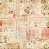 Éphémères de cru, texte et collage de papier de fleurs Photo libre de droits