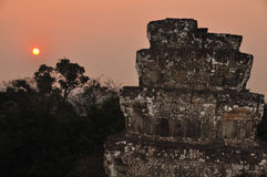 Phnom Bakheng at sunset in Cambodia Stock Image