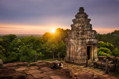 Phnom Bakheng Sunset. View of the sun setting over the Cambodian countryside from the summit of Phnom Bakheng Royalty Free Stock Image