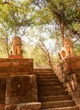Phnom Banan Temple Sandstone stairs. 358-stone-step climb up Phnom Banan Temple Sandstone stairs Battambang, Cambodia, Southeast Asia Royalty Free Stock Photography