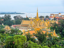 Phnom Penh in Cambodia. Aerial scenery with palace at the capital city Phnom Penh in Cambodia stock photo