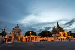 Phnom Penh Cambodia Aug 2015. Royal Palace Phnom penh town during night Stock Images