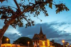 Phnom Penh Cambodia Aug 2015. Royal Palace Phnom penh town during night Stock Photo