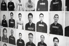 PHNOM PENH, CAMBODIA - CIRCA DEC 2013: Portraits of prisoners in Stock Photography