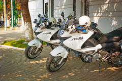 PHNOM PENH, CAMBODIA - 29 DEC 2013: Cambodian police modern moto Royalty Free Stock Photo