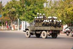 PHNOM PENH, CAMBODIA - 29 DEC 2013: Cambodian riot police moved Stock Image