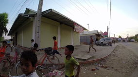 PHNOM PENH, CAMBODIA - JANUARY 2015: Charity donation to poor kids stock video footage