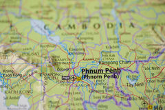 Phnom Penh Cambodia Map Stock Images