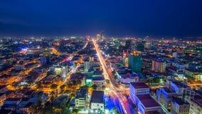 PHNOM PENH, CAMBODIA. Scene of night life at most popular tourist street  in capital city Royalty Free Stock Image