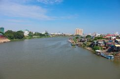 Phnom Penh. The capital of Cambodia and the Mekong river Stock Image