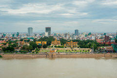 Phnom Penh city bird view Royalty Free Stock Photo