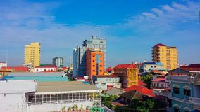 Phnom penh city skyline, cambodia. Phnom penh city skyline the kingdom of cambodia scenic view of capital city sky line location at toul tom pung distric of chom Stock Photos