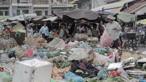 PHNOM PENH - JUNE 2012: local asian market dumping Stock Images