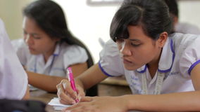 PHNOM PENH - JUNE 2012: students in NGO orphanage school stock video