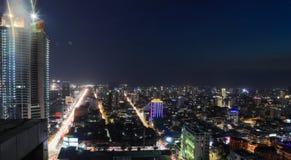 Phnom Penh przegląd przy Nighttime fotografia royalty free