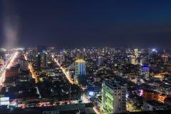 Phnom Penh przegląd przy Nighttime zdjęcie stock
