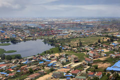 Phnom Penh. Suburb of Phnom Penh top view. Cambodia Royalty Free Stock Photos