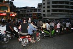 Phnom penh traffic. Motorbikes traffic in the center of phnom pen capital city of cambodia Royalty Free Stock Image