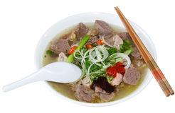 Pho Beef Noodles. Bowl of Vietnamese food pho tai beef noodles royalty free stock images