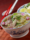 Pho Bo. Pho (Vietnamese: Phở) (pronounced [fɤ˧˩˧] ( listen)) is a Vietnamese noodle soup, usually served with beef (Vietnamese: phở bò) or chicken ( Royalty Free Stock Photography