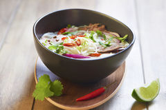Pho bo, rice noodle soup with sliced beef Royalty Free Stock Photography