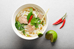 Pho bo soup above view Stock Images
