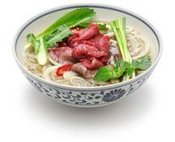 Pho bo, vietnamese beef rice noodle soup stock photo