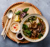 Pho Bo vietnamese Soup with beef in tray Royalty Free Stock Photography