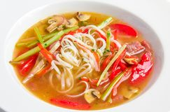 Pho bo, Vietnamese soup with rice noodles, beef Royalty Free Stock Photo