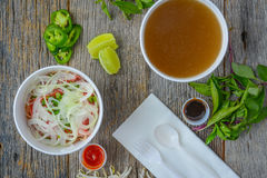 Pho Fast Food To Go on Wood Background Stock Photo