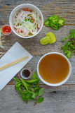 Pho Fast Food To Go on Wood Background Stock Image