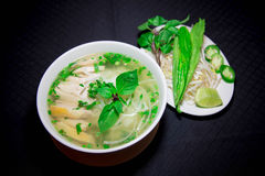 Pho ga or Vietnamese rice noodle soup with sliced chicken Stock Image