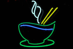 Pho Neon Sign. Rice or Pho Bowl Dinner Neon Sign Stock Photo