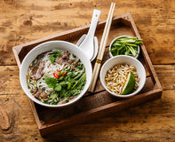 Pho Soup and Soybean seedlings Royalty Free Stock Images