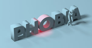 Phobia - 3d render lettering sign, near scared paranoid man, ill. Man grabbing his head in fear, 3d render near Phobia text sign illustration royalty free illustration