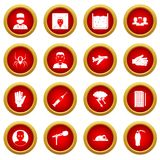 Phobia symbols icon red circle set. Isolated on white background Stock Image