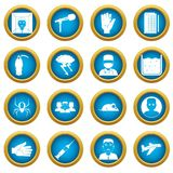 Phobia symbols icons blue circle set. Isolated on white for digital marketing Royalty Free Stock Photos