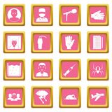 Phobia symbols icons pink. Phobia symbols icons set in pink color isolated vector illustration for web and any design Stock Images
