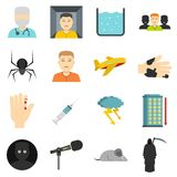 Phobia symbols icons set in flat style. Isolated vector illustration Royalty Free Stock Photos