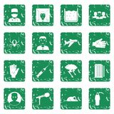 Phobia symbols icons set grunge. Phobia symbols icons set in grunge style green isolated vector illustration Royalty Free Stock Images